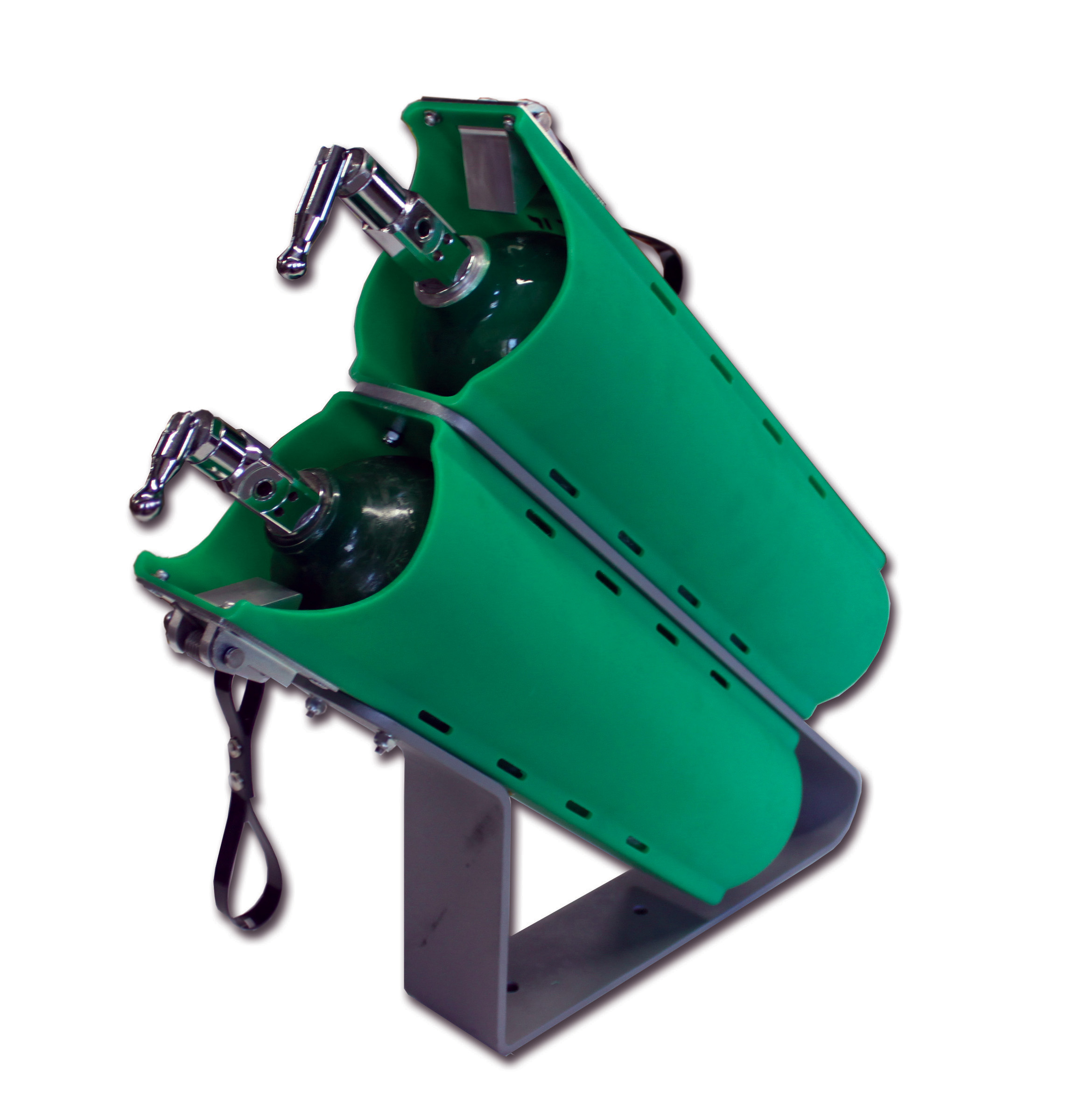 "Twin Slide-Out ""D"" Cylinder Brackets with Mounting Stand"